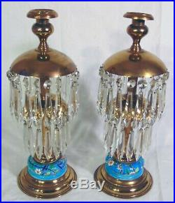 Pr Antique French Longwy Crystal Brass Prism Candleholders Candle Stands