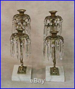 Pr Brass Girandoles 3 Arm Candle Holder w Prisms Harvin Virginia Metalcrafters