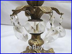 Pr Brass Mantle Lusters Candlestick Taper Candle Holders +Crystal Prisms Lustre