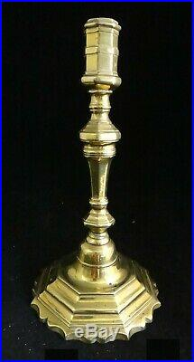 Pr. French Louis XV period solid brass candlesticks, c. 1710-45. 10