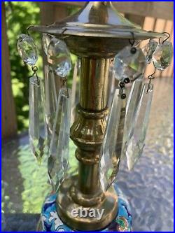 Pr LONGWY French Pottery & Brass 10 Candlesticks Candle Holders With Prisms