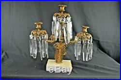Qty3 Brass on Marble Base Girandoles Crystal Prism Candle Holders Victorian