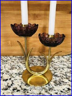 RARE Mid Century Gunnar Ander Ystad Brass Amethyst Glass Sweden Candlestick 60s