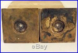 RARE PAIR 17th Century Antique Spanish Brass Bronze Square Base Candlesticks 6