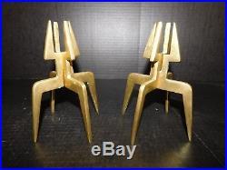 RARE Pair Vtg Brass Quad-Leg Form Candlestick Candle Holder Mid Century Modern