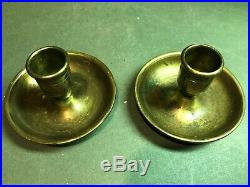RARE Set Civil War Era Brass Officers Folding Travel Candleholders