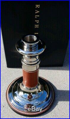 Ralph Lauren Harrington Adjustable Silver Plated Brass/Leather Candlestick NIB