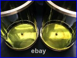 Ralph Lauren Modern Handblown Green Glass 12 Hurricane Candleholders (2)
