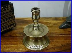 Rare 17th Century/ 18th Century Solid Brass Capstan Candlestick