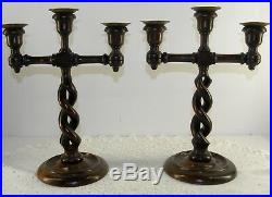 Rare ANTIQUE 13 Open BARLEY TWIST Wood Brass TRIPLE CANDLESTICKS SET Candelabra