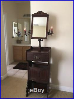 Rare American Antique Victorian Walnut Shaving Stand Mirror Brass Candle Holders