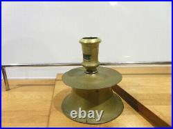 Rare Antique 16th / 17th Century Brass Capstan Candlestick Candle Holder