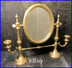 Rare Antique Solid Brass Tilting Vanity Shaving Mirror Candle Holders French Vtg