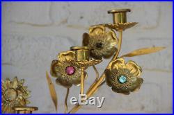 Rare Antique religious brass stones 7 arm Candelabra candle holder altar church