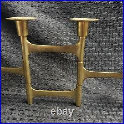 Rare MCM Brutalist Articulated Brass 6 Candle Holder