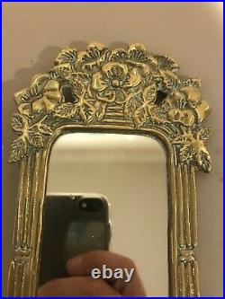 Rare PAIR VINTAGE ORNATE MIRRORED BRASS GOLD SCONCE CANDLE HOLDERS FLORAL 14 X 4