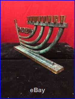 Rare PAL Bell Vintage Hanukkah Menorah Brass Candle Holder Israel Judaica Jewish