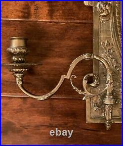 Rare VINTAGE BRASS MIRRORED WALL HANGING SCONCE WITH TWO-ARM CANDLE HOLDERS