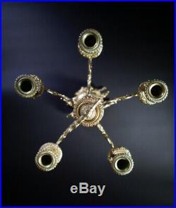 Rare Vintage Embossed 27 Tall Brass Ornate 5 Light Candelabra Baroque Style