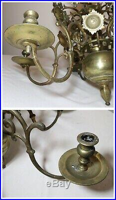 Rare antique 18th century turned brass federal style candle holder chandelier