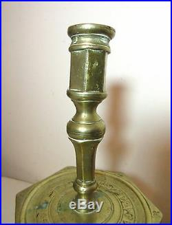 Rare large primitive antique 17th century 1600's brass candlestick candle holder