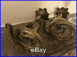 Rare pair antique cast SOLID BRASS BRONZE snake python serpent candle holders