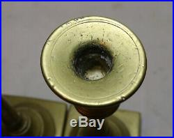 Rare pair primitive antique 18th century turned brass candlestick candle holder