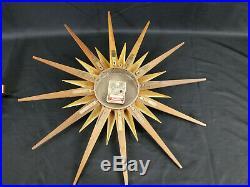 Retro Atomic Welby Sunburst Wall Clock Candle Holders MID Century Modern Brass