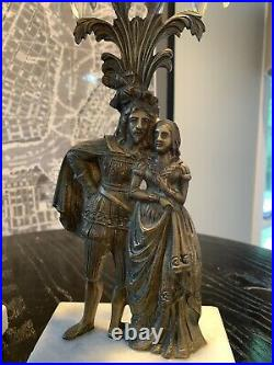 SET Of 2 Antique Ornate Girandole Bronze Brass Crystal Candle Holders Candelabra