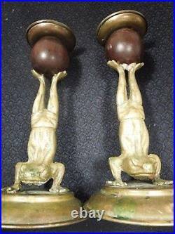 SIGNED 1977 Pair Of ARTHUR COURT Frog Brass & Wood Candle Holders RARE / HTF