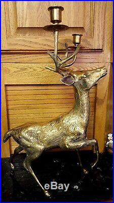 SOLID BRASS LARGE 19 TALL Stag Deer Antlers Candelabra Candle Holder BEAUTIFUL