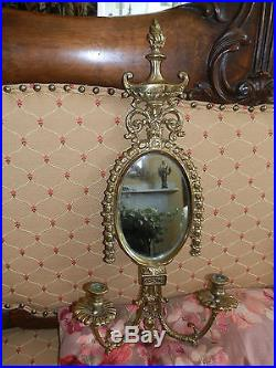 SPECTACULAR PAIR OF ANTIQUE VICTORIAN CANDLE HOLDER SCONCES WithBEVELED MIRRORS