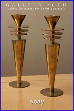 Saucers! Vtg MID Century Atomic Modern Brass Candle Holders! Jetsons Space Age