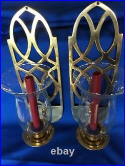 Sconces 17 Solid Brass Wall Hanging Candle Holder Hurricane Glass Set of 2