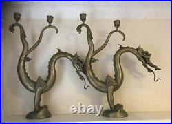 Set Of Brass Chinese Dragon Candelabra Candle Holders