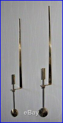 Set Of Two Pendel Wall Candle Holders / Brass Skultuna Pierre Forsell