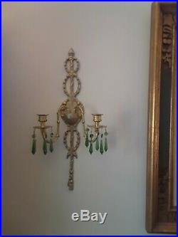 Set of 2 Antique Brass Wall Sconce Candle Holders with Green Crystal Prisms