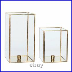 Set of 2 Square Brass Glass Hurricane Candle Holder Danish Design by Hubsch