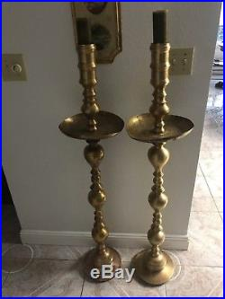 Set of 2 vintage 48 Tall Brass Candle Holders Hand Carved Church Wedding Home