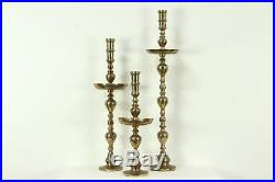 Set of 3 Giant Brass Vintage Pillar Candlesticks, 30 to 47, Thailand #28640