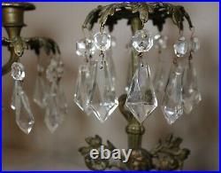 Set of 3 antique ornate girandole bronze crystal candelabra candle holder brass