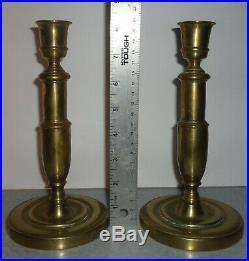 Signed 1700s French Federal Brass Candlesticks Handmade Marie Antoinette Era