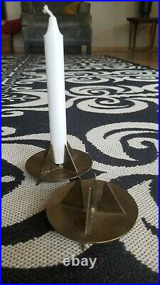 Skultuna Pierre Forssel Brass Modernist Candle Holders Sweden Scandinavian MCM