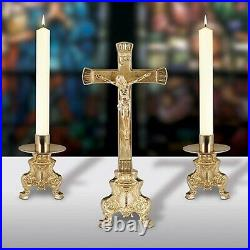Small Ornate Brass Altar Candlestick Holders and Crucifix Set, 10 Inch N. G