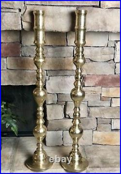 Solid Brass Candle Holders Floor Alter 39 Wedding Heavy Large Candlesticks 2