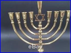 Solid Brass Copper XL 14 Hanukkah Menorah Candle Holder Israel Hanukia Judaica