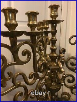 Spectacular Pair Of Brass 10 Light Candelabra 28 Tall Over 23 Pounds Each