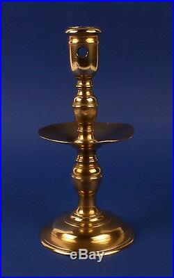 Splendid Antique 17thC Dutch Brass Panel Candlestick Candle Holder