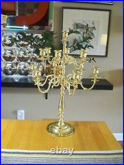 Stunning Large 13 Candle 12 Arm Brass BALDWIN CANDELABRA 20-1/2 in Height