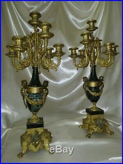 Stunning Ornate 24 Italian Brevetto Bronze Brass Green Marble Candelabras